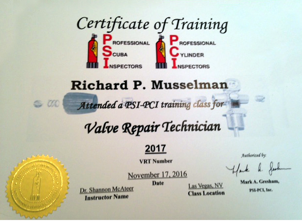 Richard Musselman PSI Valve Reapair Technician Certification