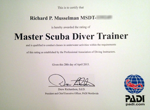 Divers Inn MX owner Richard Musselman is a PADI certified master scuba diver instructor